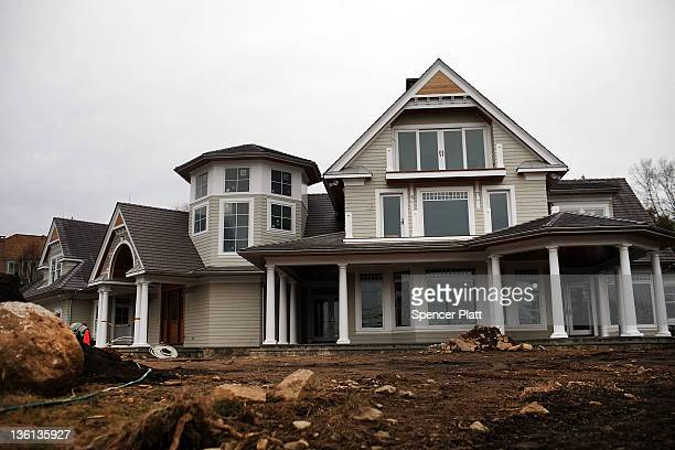 A newly constructed home is viewed on December 27 2011 in Westport Connecticut Home construction often a bellwether for the economy has gradually...