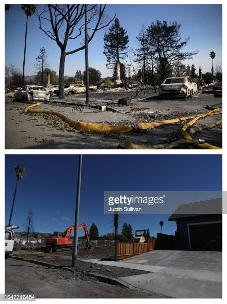 COMPOSITE IMAGE In this composite image a comparison has been made between the days of the 2017 Tubbs Fire and what those areas look like on the one...