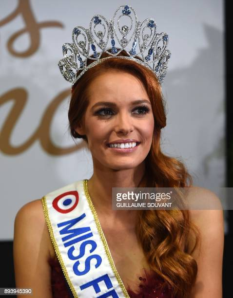 Newly crowned Miss France 2018 Maeva Coucke holds a press conference after winning the Miss France 2018 pageant in Chateauroux central France on...