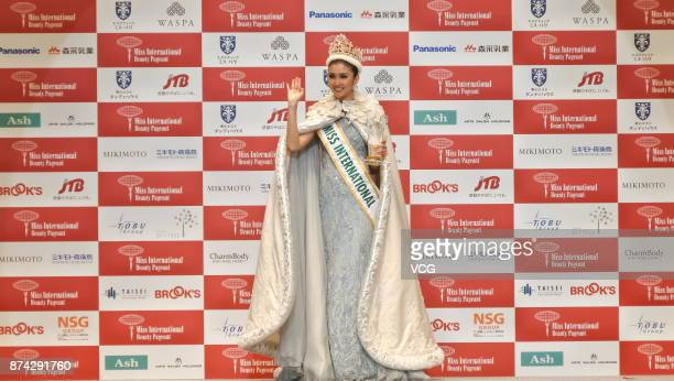 Newly crowned Miss International Kevin Lilliana of Indonesia celebrates during the Miss International Beauty Pageant 2017 at the Tokyo Dome City Hall...