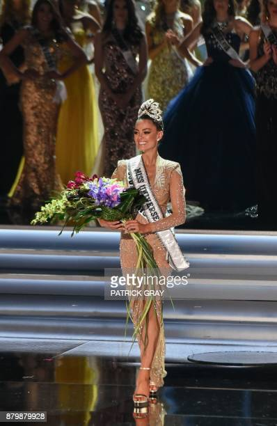Newly crowned Miss Universe Miss South Africa 2017 DemiLeigh NelPeters walks the stage November 26 2017 in Las Vegas Nevada Beauties from across the...