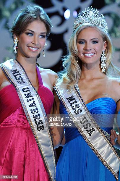 Newly crowned Miss USA Kristen Dalton of North Carolia poses with Miss Universe Dayana Mendoza of Venezuela after being crowned at the Planet...