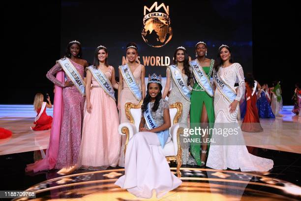 Newly crowned Miss World 2019 Miss Jamaica ToniAnn Singh smiles as she poses with her crown during the Miss World Final 2019 at the Excel arena in...