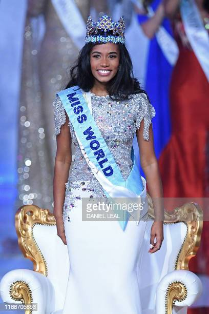 Newly crowned Miss World 2019 Miss Jamaica ToniAnn Singh smiles during the the Miss World Final 2019 at the Excel arena in east London on December 14...