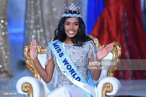 TOPSHOT Newly crowned Miss World 2019 Miss Jamaica ToniAnn Singh smiles during the the Miss World Final 2019 at the Excel arena in east London on...