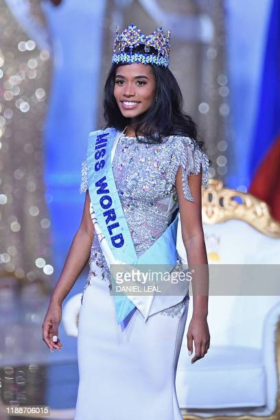 Newly crowned Miss World 2019 Miss Jamaica ToniAnn Singh smiles during the Miss World Final 2019 at the Excel arena in east London on December 14 2019