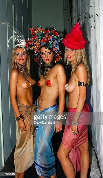 Newly crowned Miss World Rosanna Davison and two other students at the UCD fashion show are seen on March 2 2003 in Dublin Ireland Davison was...