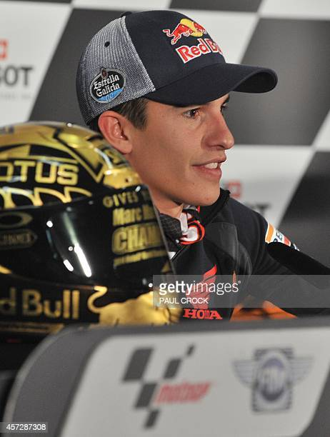 Newly crowned MotoGP World Champion rider Marc Marquez of Spain takes questions during the preevent press conference at the Australian MotoGP Grand...