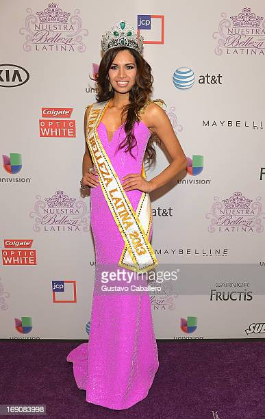 Newly crowned nuestra belleza Marisela Demontecristo attends Univisions Nuestra Belleza Latina Grand Finale at Univision Headquarters on May 19 2013...