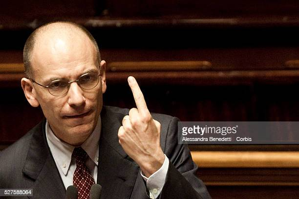 Newly designated Italian Prime Minister Enrico Letta attends a confidence vote at the Senate.
