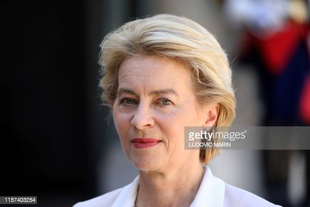 Newly designated president of the European Commission Ursula von der Leyen addresses the media in the courtyard of the Elysee presidential palace...
