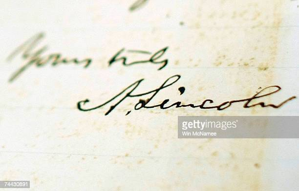 A newly discovered letter written by Abraham Lincoln is displayed at the National Archives June 7 2007 in Washington DC Lincoln's message is to Major...