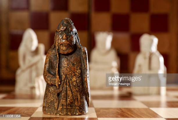 A newly discovered Lewis Chessman at Sotheby's on June 3 2019 in London England On 2 July in London Sotheby's will offer the first discovery of an...