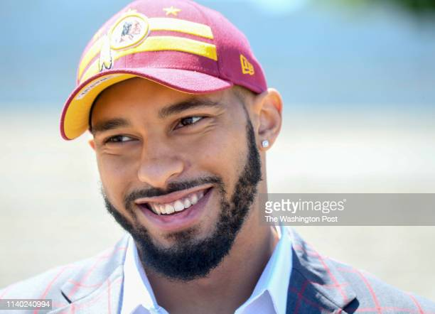 Newly drafted Washington Redskin Montez Sweat at his introductory press conference held on the steps of the Jefferson Memorial