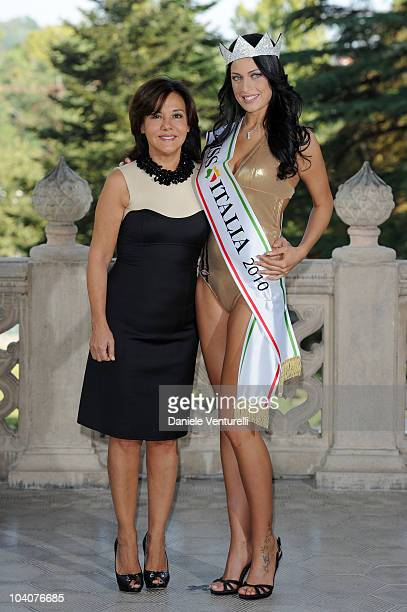 Newly elected 19yearold Francesca Testasecca and Patrizia Mirigliani attend the photocall during the 2010 Miss Italia Beauty Pageant on September 14...