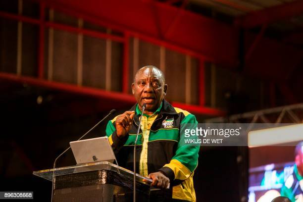 Newly elected African National Congress President Cyril Ramaphosa delivers his closing speech on December 20 the final day of the 54th ANC conference...