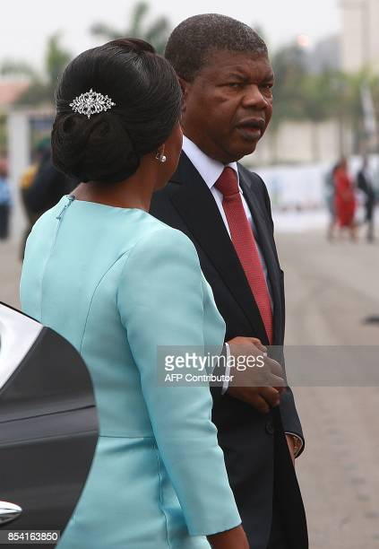 Newly elected Angolan President Joao Lourenco arrives for his swearing in ceremony as the new Angolan President on September 26 2017 in Luanda Jose...