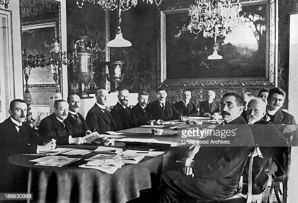 Newly elected at the first National Assembly of the German Republic in the Royal Theatre in Weimar is Chancellor Scheideman 4th from left and his...