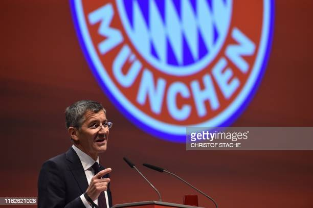Newly elected Bayern Munich President Herbert Hainer addresses the annual general meeting of the German first division Bundesliga football club FC...