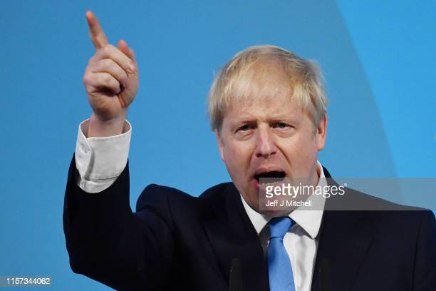 Newly elected British Prime Minister Boris Johnson speaks during the Conservative Leadership announcement at the QEII Centre on July 23, 2019 in...