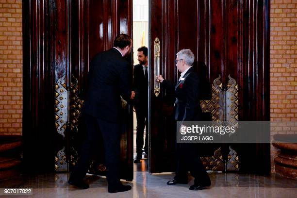 TOPSHOT Newly elected Catalan parliament speaker Roger Torrent comes out of a meeting at the Catalan regional parliament in Barcelona on January 19...