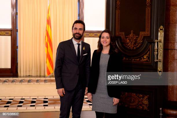 Newly elected Catalan parliament speaker Roger Torrent greets Ines Arrimadas regional head of the antiindependence Cuidadanos party upon her arrival...
