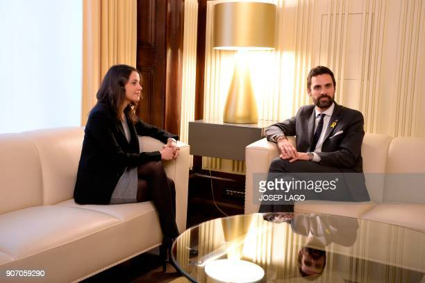 Newly elected Catalan parliament speaker Roger Torrent meets with Ines Arrimadas regional head of the antiindependence Cuidadanos party at the...