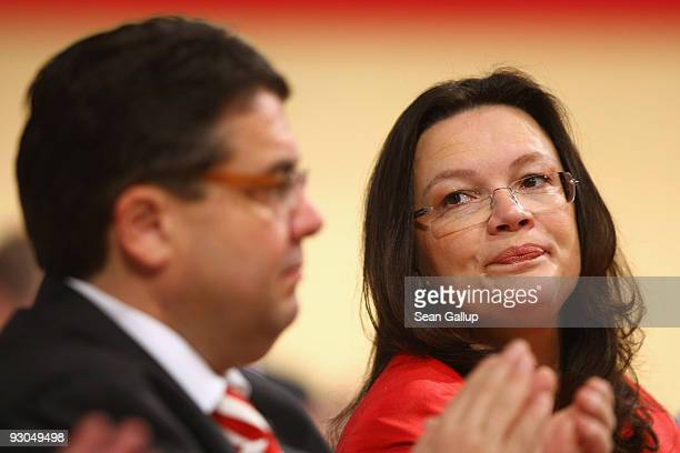 Newly elected Chairman of the German Social Democratic Party Sigmar Gabriel and newly elected SPD General Secretary Andrea Nahles attend the SPD...