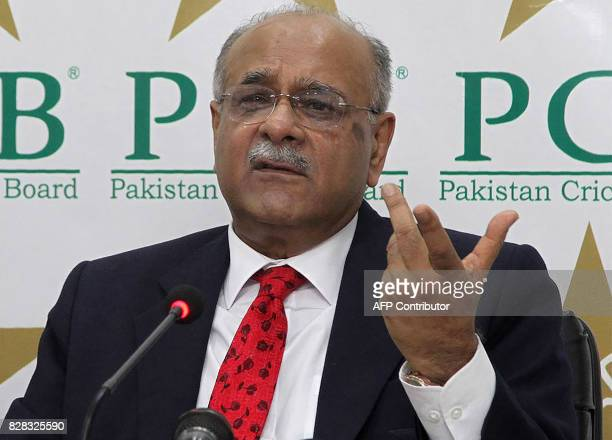 Newly elected chairman of the Pakistan Cricket Board Najam Sethi gestures during a press conference in Lahore on August 9 2017 Sethi vowed Wednesday...