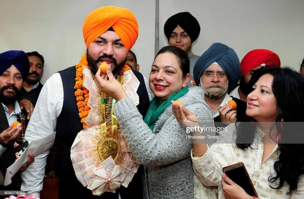 Newly elected Chandigarh senior deputy mayor Gurpreet Singh Dhillon after the winning senior deputy mayor election on January 9 2018 in Chandigarh...