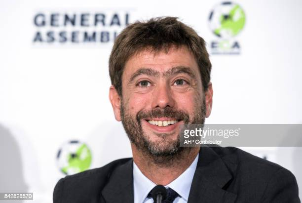 Newly elected Charmain of ECA Andrea Agnelli smiles as he gives a press conference after his election during the ECA 19th General Assembly on...