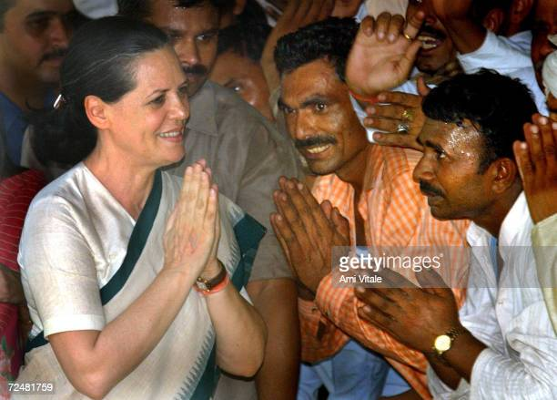 Newly elected Congress Party leader Sonia Gandhi greets supporters May 15, 2004 in New Delhi, India. Congress' election of Ghandi, which was...