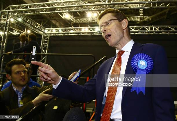 Newly elected Conservative Mayor of the West Midlands Andy Street speaks to the media following his victory at the Barclaycard Arena in central...