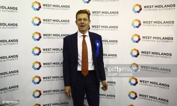 Newly elected Conservative Mayor of the West Midlands, Andy Street speaks to the media following his victory, at the Barclaycard Arena in central...