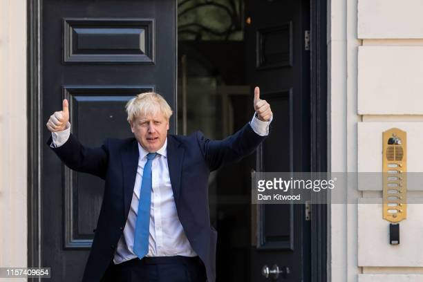Newly elected Conservative party leader Boris Johnson poses outside the Conservative Leadership Headquarters on July 23 2019 in London England After...