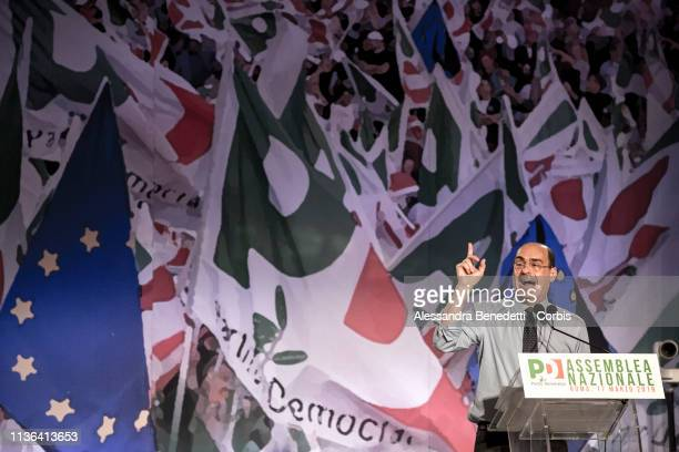 Newly elected Democratic Party Secretary and Leader Nicola Zingaretti addresses the PD National Congress on March 17 2019 in Rome Italy