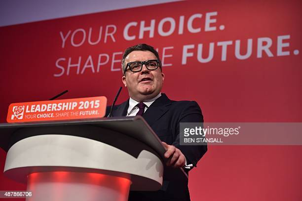 Newly elected deputy leader of Britain's opposition Labour party Tom Watson speaks following the results announcement in London on September 12 2015...
