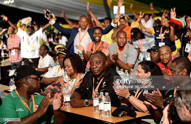 Newly elected deputy president of the African National Congress Cyril Ramaphosa is congratulated by delegates during the 53 rd National Conference of...