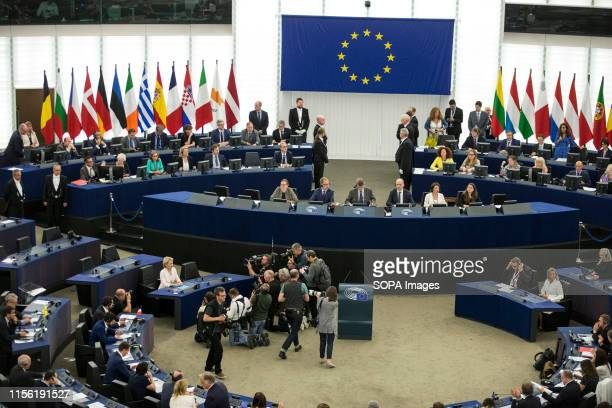Newly elected European Commission President Ursula von der Leyen reacts after voting on her at the European Parliament in Strasbourg. German defence...