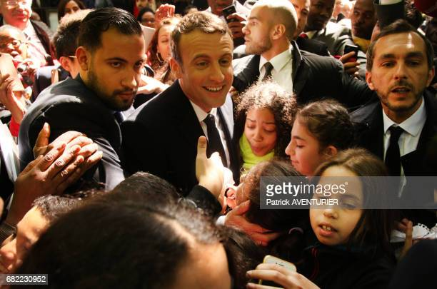 Newly elected French president Emmanuel Macron with Alexandre Benalla attends a ceremony at the Luxembourg Gardens to mark the abolition of slavery...