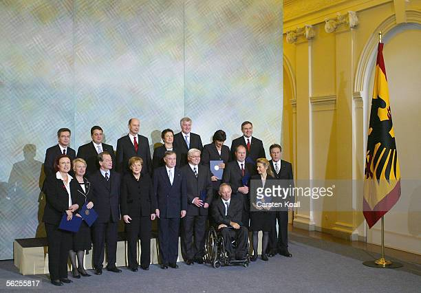 Newly elected German Chancellor Angela Merkel poses with her left-right coalition cabinet and German President Horst Koehler November 22, 2005 at...