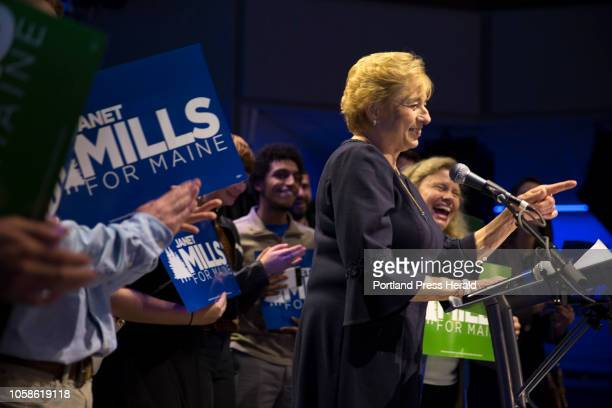 Newly elected governor of Maine Janet Mills gives her victory speech at the Maine Democrats election night party for Mills and Rep Chellie Pingree at...