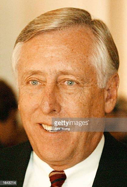 Newly elected House Minority Whip Rep Steny H Hoyer smiles during a news briefing November 14 2002 on Capitol Hill in Washington DC Democrats have...