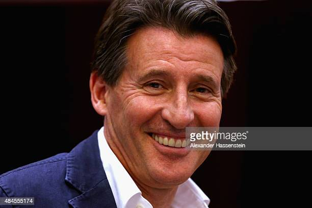 Newly elected IAAF president Sebastian Coe attends the IAAF World Championships Beijing 2015 press conference at the China National Convention Centre...