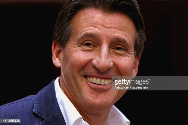 Newly elected IAAF president Sebastian Coe attends the IAAF World Championships Beijing 2015 press conference at the China National Convention...