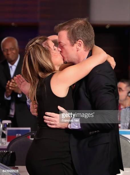 Newly elected International Paralympic Committee President Andrew Parsons is congratulated by his wife Marcela Parson during the IPC General Assembly...
