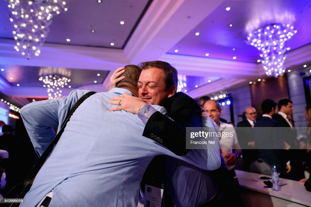 Newly elected International Paralympic Committee President Andrew Parsons is congratulated during the IPC General Assembly and Conference 2017 at Abu Dhabi National Exhibition Centre on September 8, 2017 in Abu Dhabi, United Arab Emirates.