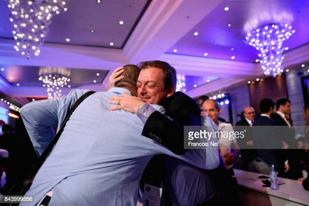 Newly elected International Paralympic Committee President Andrew Parsons is congratulated during the IPC General Assembly and Conference 2017 at Abu...