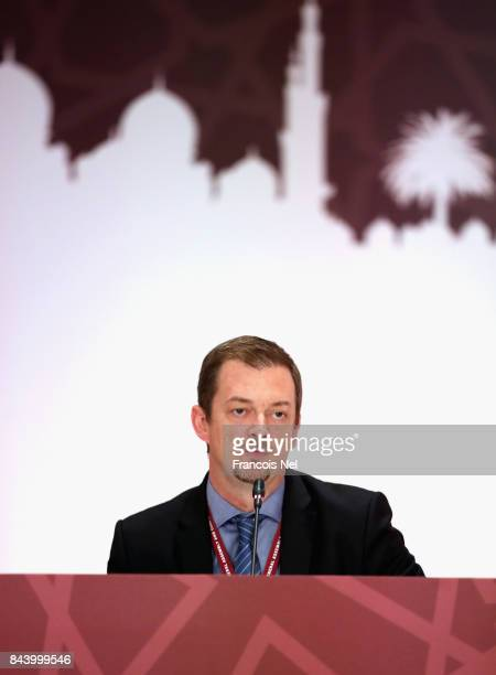 Newly elected International Paralympic Committee President Andrew Parsons speaks during the IPC General Assembly and Conference 2017 at Abu Dhabi...