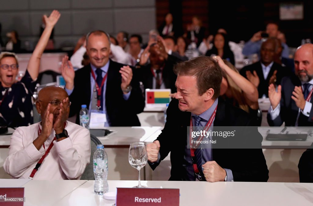 Newly elected International Paralympic Committee President Andrew Parsons reacts during the IPC General Assembly and Conference 2017 at Abu Dhabi National Exhibition Centre on September 8, 2017 in Abu Dhabi, United Arab Emirates.
